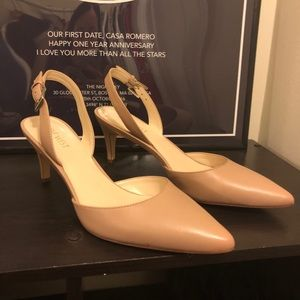 afa3ce85f Nine West Shoes | New Epiphany Nude Slingback Heels | Poshmark